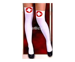 nurse white thigh high with cross motif