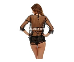 Sexy Teddy & Robe Set In Sensuous Black
